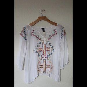 Forever 21 White Bell Sleeved Blouse Top